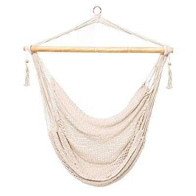 Karriw Hammock Chair, Mesh Hanging Chair, Polyester Cotton Swing Seat, 260LBS Weight Capacity (Beige): Garden & Outdoor