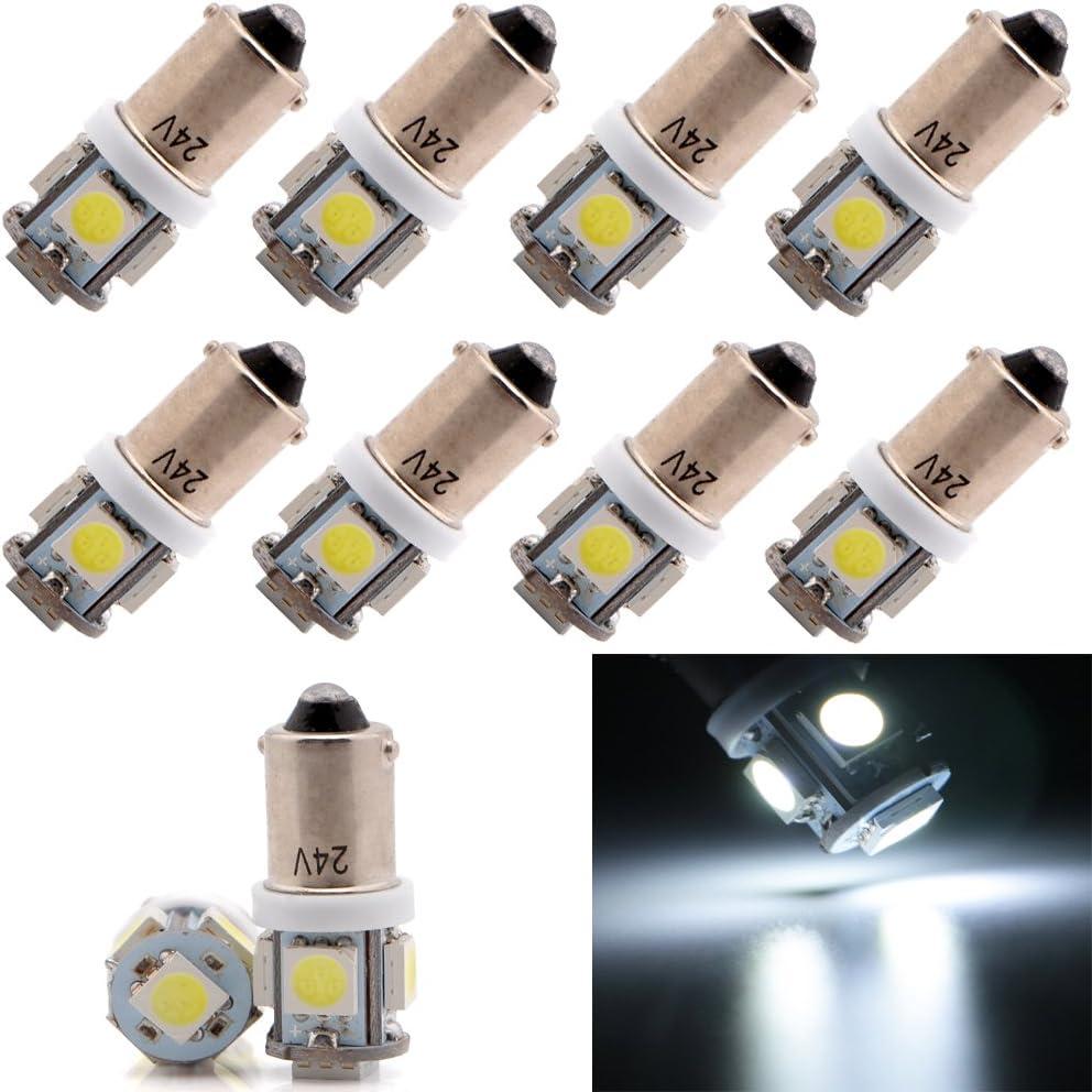 Grandview BA9S 5050 5SMD Bombillas LED para maletero de coche, luces de cuña, luz lateral, luz de matrícula, 24 V CC