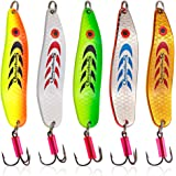 Sougayilang Colorful Hard Spoon Spinner Fishing Lures Metal Treble Hooks Baits-5 Pcs