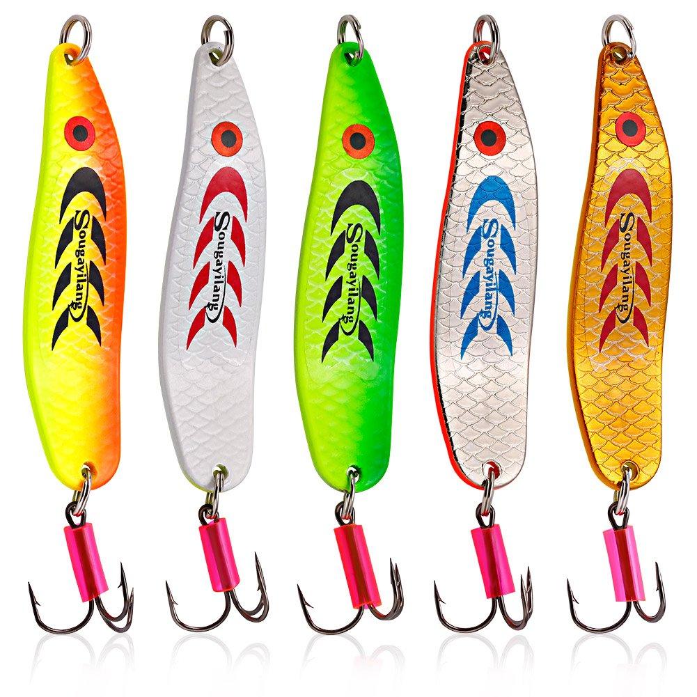 Sougayilang Colorful Hard Spoon Spinner Fishing Lures Metal Treble Hooks BaitsType #4-5pcs by Sougayilang