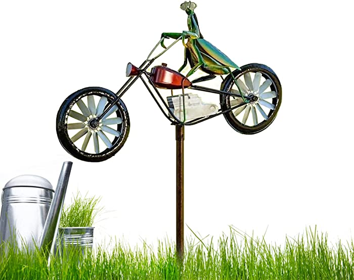 Vintage Bicycle Metal Wind Spinner with Frog Ornament Wind Spinner Handmade Frogs Metal Wind Spinner with Standing Vintage Bicycle Wind Spinner with Standing Pole Garden Yard Lawn Decoration B