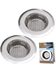 "Stainless Steel Kitchen Sink Strainer by AULife - Large Wide Rim 4.5"" Diameter,Set of 2"