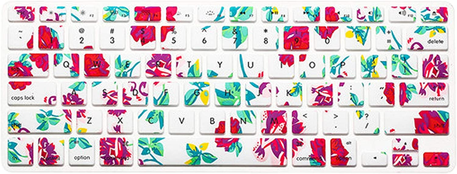 Beautiful Flowers Rose Series Keyboard Cover Keypad Skin Protector for Mac MacBook Pro 13 15 17 Air 13 Retina 13 Us Layout-Mix Blue Ink Flowers