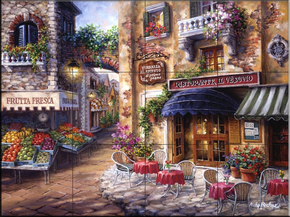 Ceramic Tile Mural - Buon Appetito 2 - by Nicky Boehme - Kitchen backsplash/Bathroom shower