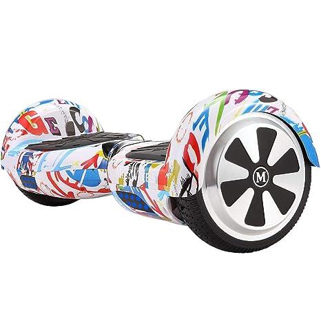 M MEGAWHEELS Scooter-Patinete Eléctrico Hoverboard, 6.5 Pulgadas con Bluetooth - Motor eléctrico 500w, Velocidad 10-12 Km/h. (Graffiti)