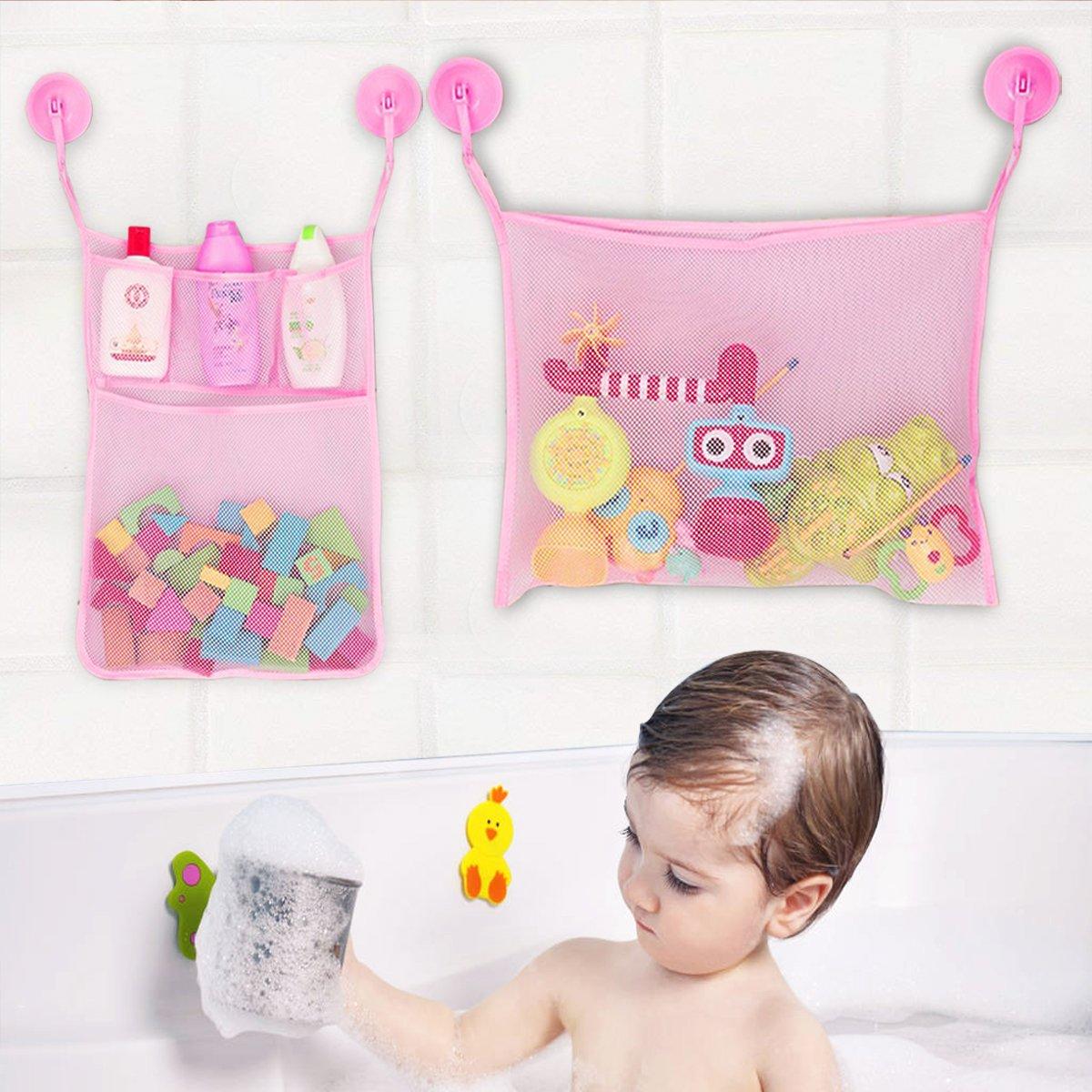 Jayden78 Bath Toys, 2 x Bath Toy Organizer + 4 x Ultra Strong Hooks& + 2 x 3M Sticker The Perfect Net for Bathtub Toys & Bathroom Storage