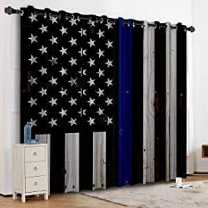 "T&H Home Thin Blue Line Police Blackout Curtain, Honor Law Enforcement USA Vintage Flag White Grommet Thermal Insulated Darkening Window Treatment Curtain Panel for Livingroom Bedroom 52"" W by 63"" L"