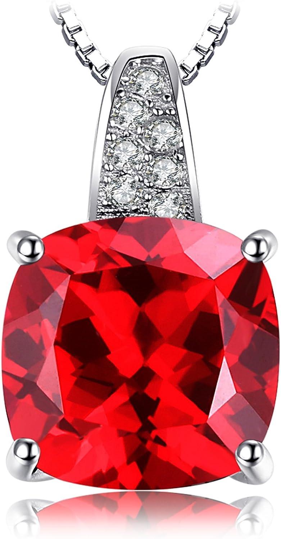 JewelryPalace Colgante Solitario 4.9ct Corte cojín Rubí Creado Plata de ley 925 cadena de caja 45cm