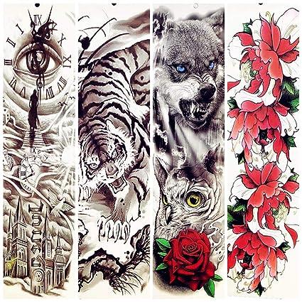 lihaohao Etiqueta Engomada del Tatuaje Temporalrey del Tigre Lobo ...