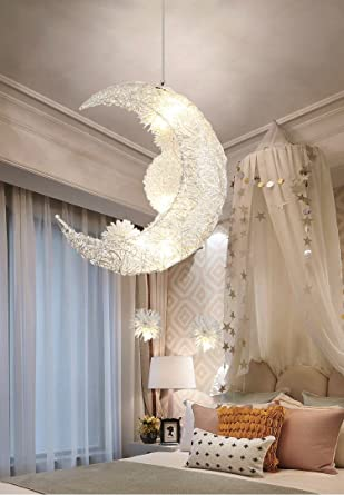 Creative Moon and Stars Fairy LED Pendant Lamp Chandelier Ceiling Light  Kids Children Bedroom Decoration (White Light)