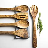 Rustic Olive Wood 5 Piece Kitchen Utensil Set - Length 14""
