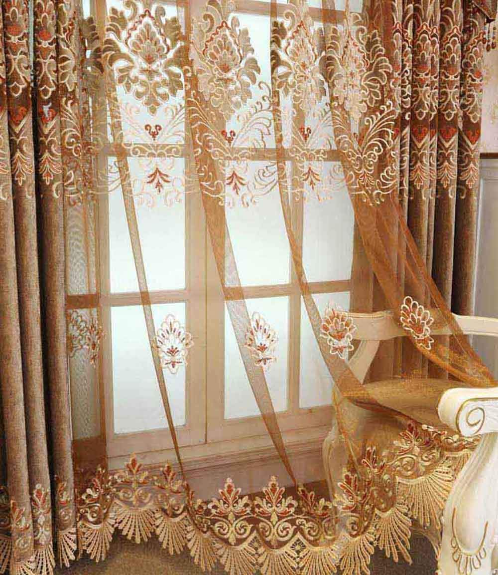 pureaqu European Style Living Room Curtains Grommet Blackout Window Curtains Panels Embroidered Floral Elegant Extra Long Room Darkening Drapes For French Door/Bedroom 1 Panel W39 x H84 Inch