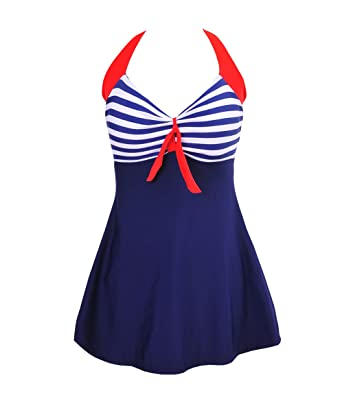f91f5c45aa1ef Bechic Women s Sailor Halter Plus Size Swimdress Vintage Striped One-piece  Swimsuit Long Torso Cover