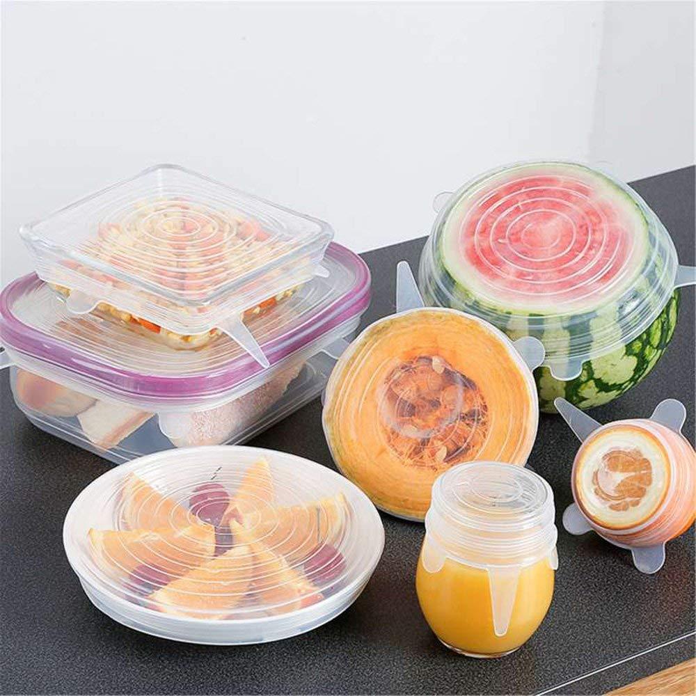 dehnbar f/ür viele Formen von Lebensmitteln 14 St/ück Set in verschiedenen dehnbaren Gr/ö/ßen FDA Standard Dehnbare Silikondeckel und wiederverwendbare Schalenh/üllen