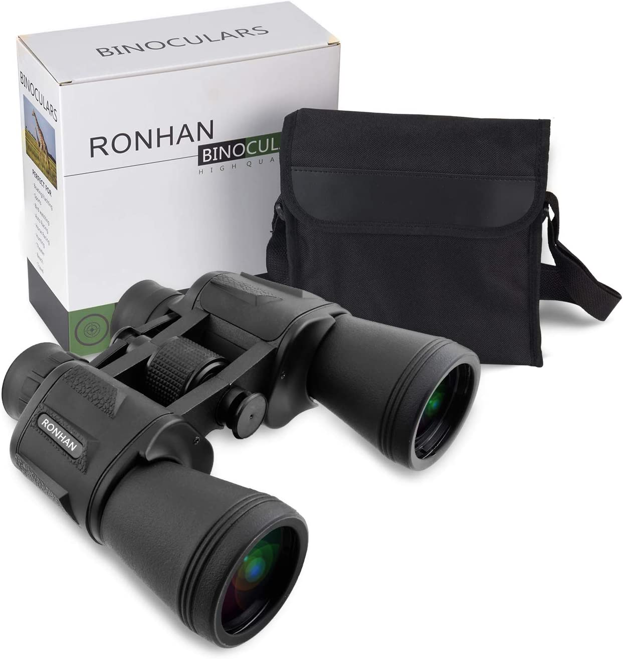 20×50 High Power Military Binoculars, Compact HD Professional Daily Waterproof Binoculars Telescope for Adults Bird Watching Travel Hunting Football-BAK4 Prism FMC Lens-with Case and Strap 20X50