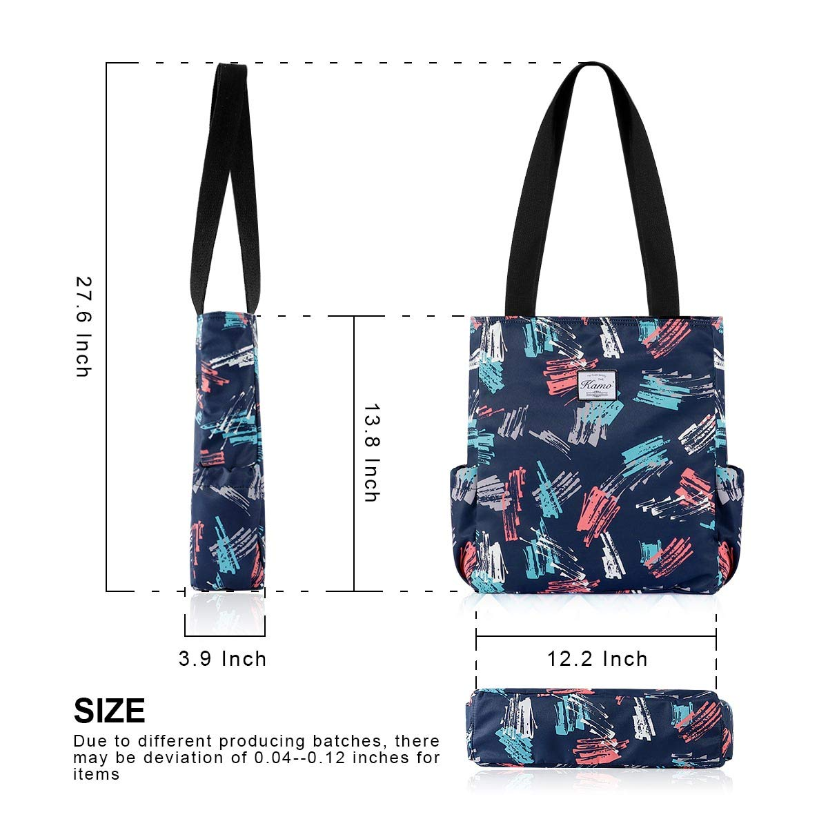 Kamo Floral Tote Bag Waterproof Lightweight Handbags Travel Shoulder Bag for Hiking Yoga Gym Swimming Travel Beach