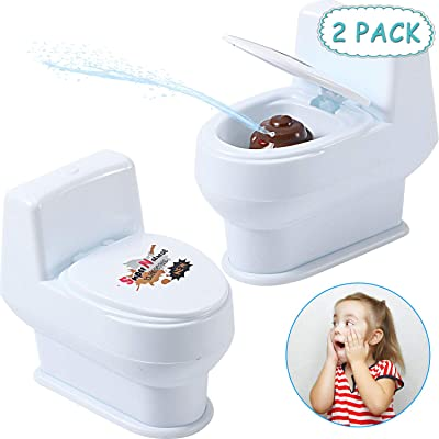 2 Pieces Squirt Toilet Toy Water Spray Game Mini Squirting Toilet Funny Water Squirting Prank Toy for Summer Party Supplies Water Gag Gifts: Toys & Games