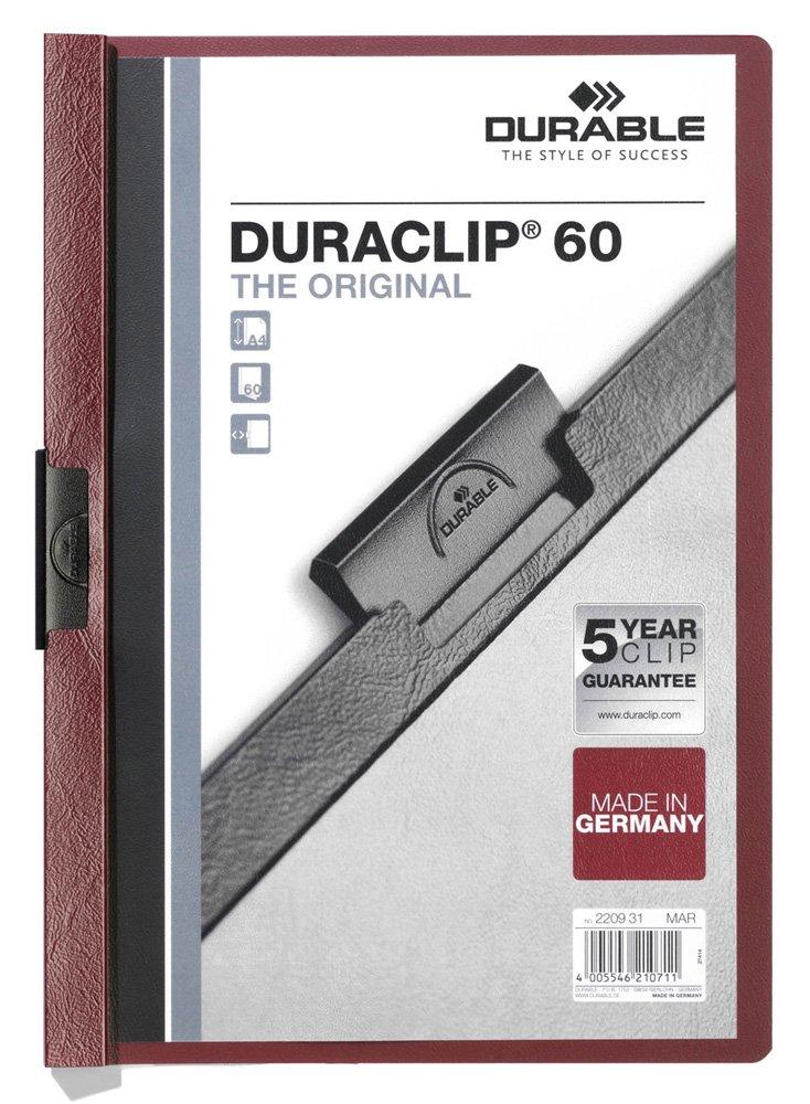 DURABLE 220003 capacit/à 1-30 fogli cartellina con clip per archiviare documenti confezione da 25 pezzi rosso f.to A4 Duraclip 30