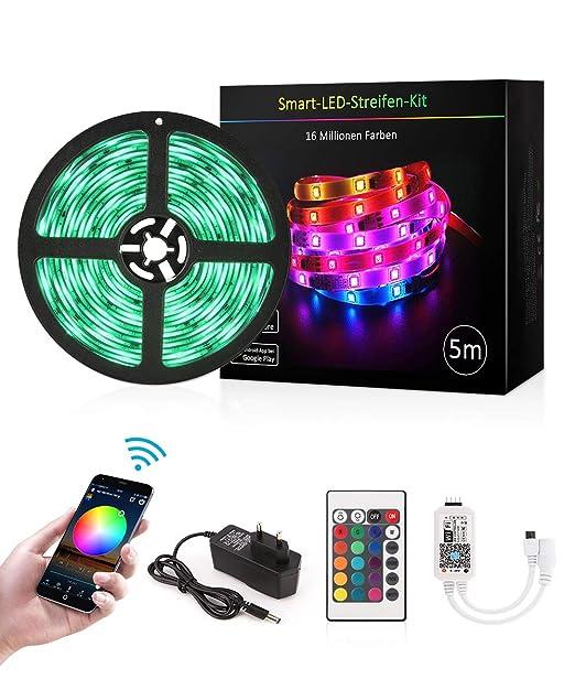LED Licht Streifen 5m, Sync mit Musik, 16 Mio Farben steuerbar via App, kompatibel mit Amazon Alexa, Google Home, IFTTT, dimm