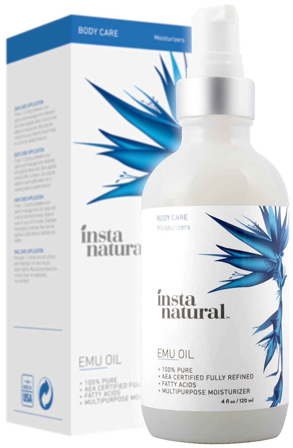 InstaNatural 100% Pure Emu Oil - For Hair Growth, Skin, Face, Stretch Marks, Scars & More - Great for After You Shampoo! - The Best Natural Cream for Eczema, Muscle & Joint Pain & Nail Beauty - 4 OZ SETAF
