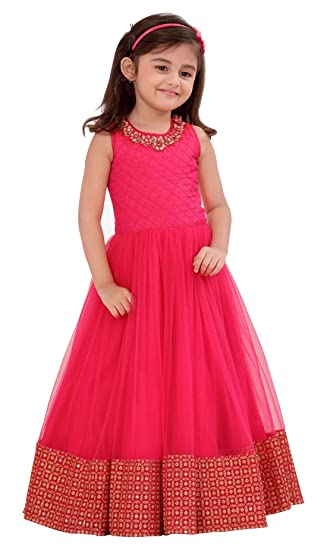 7aadb8c7e11 White Button Pink Form with Golden Embroidery Lace Party wear Gown Dress  for Girls (2