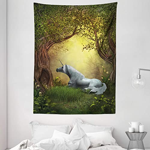 Ambesonne Unicorn Tapestry, Enchanted Forest Fantasy Willow Trees Wildflowers Woodland Animal Folklore, Wall Hanging for Bedroom Living Room Dorm, 60 X 80 , Green White