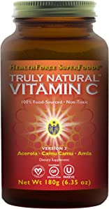 HealthForce SuperFoods Truly Natural Vitamin C - 180 Grams Powder - Whole Food Organic Vitamin C Complex from Acerola Cherry Powder - Immune Support - Vegan, Gluten-Free - 30 Servings