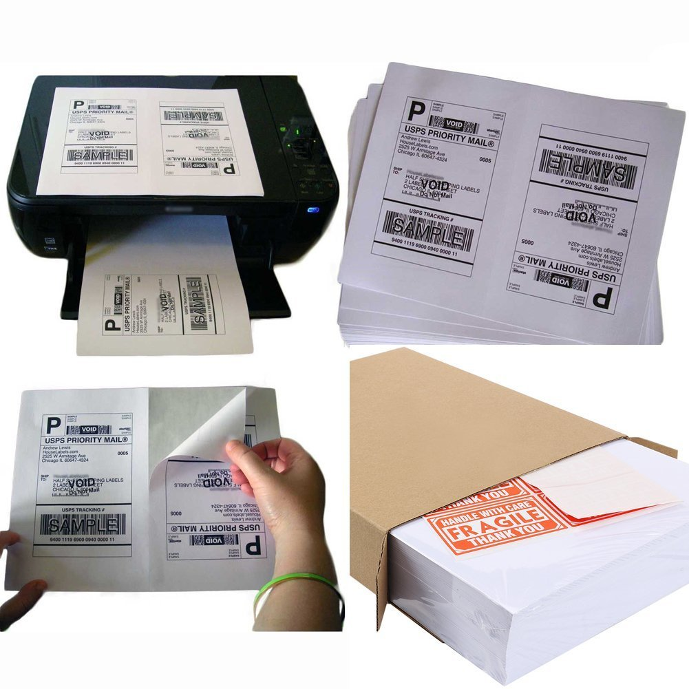 MFLABEL Half Sheet Laser/Ink Jet Shipping Labels for UPS USPS FedEx (3000 labels)