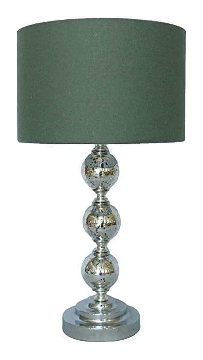 Bon Nu Steel LS 340 Crackle Glass Table Lamp With Shade Base Mercury, 12u0026quot;