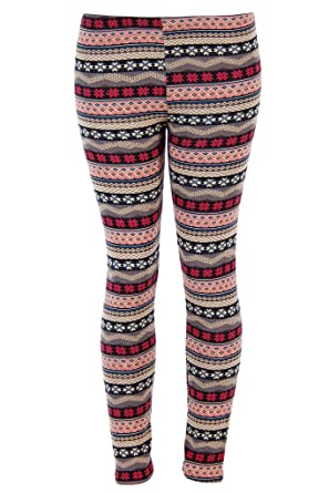 06e5f194796cdc True Rock Ugly Snowflakes Pattern Pink and Gray Christmas Leggings (S/M)