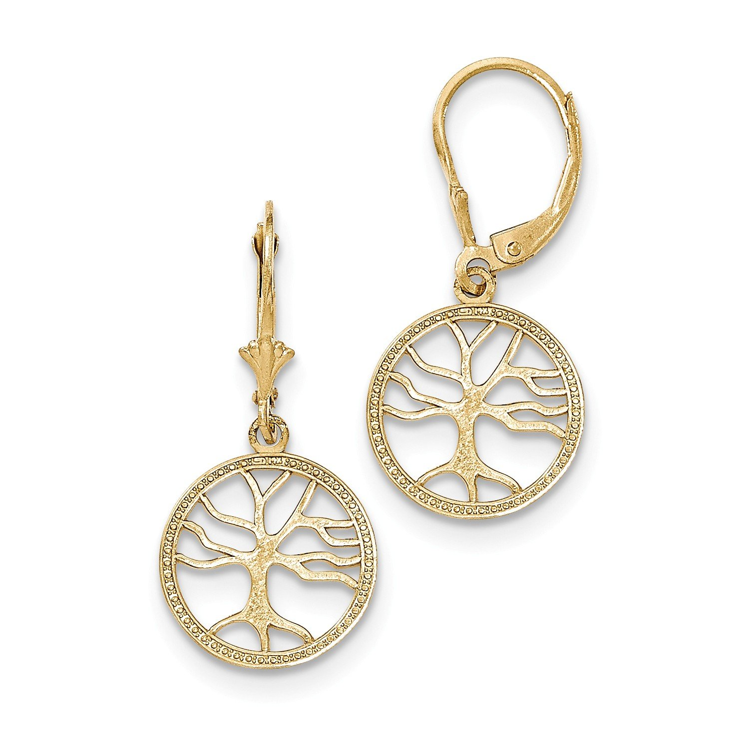 Roy Rose Jewelry 14K Yellow Gold Polished Tree of Life in Round Frame Leverback Earrings