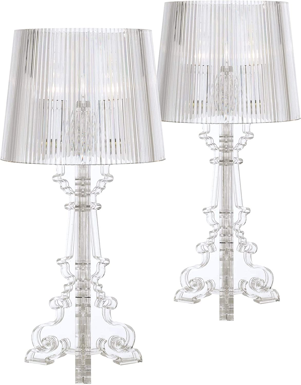 Baroque Accent Table Lamps Set of 2 Clear Acrylic See Through for Living Room Family Bedroom Bedside Nightstand - 360 Lighting