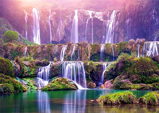 HD 5x7Ft Waterfall Backdrop Natural Landscape Backdrop Chinese Style Background Vinyl Cotton Photo Video Studio LXME337