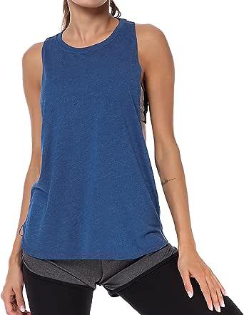 LIERKISS قمصان بدون أكمام للنساء رياضية فضفاضة تناسب التمارين الرياضية ملابس رياضية ريسر باك قمصان قطنية (أزرق، S)