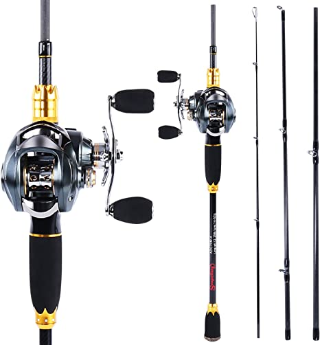 Sougayilang Fishing Reel and Rod Combos,24 Ton Carbon Fiber Fishing Poles with Baitcasting Reel,11+1 Ball Bearings for Travel Freshwater