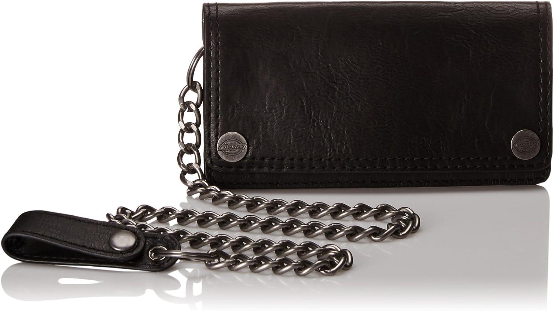 New Dickies Men/'s Leather Trucker Chain Slimfold Wallet