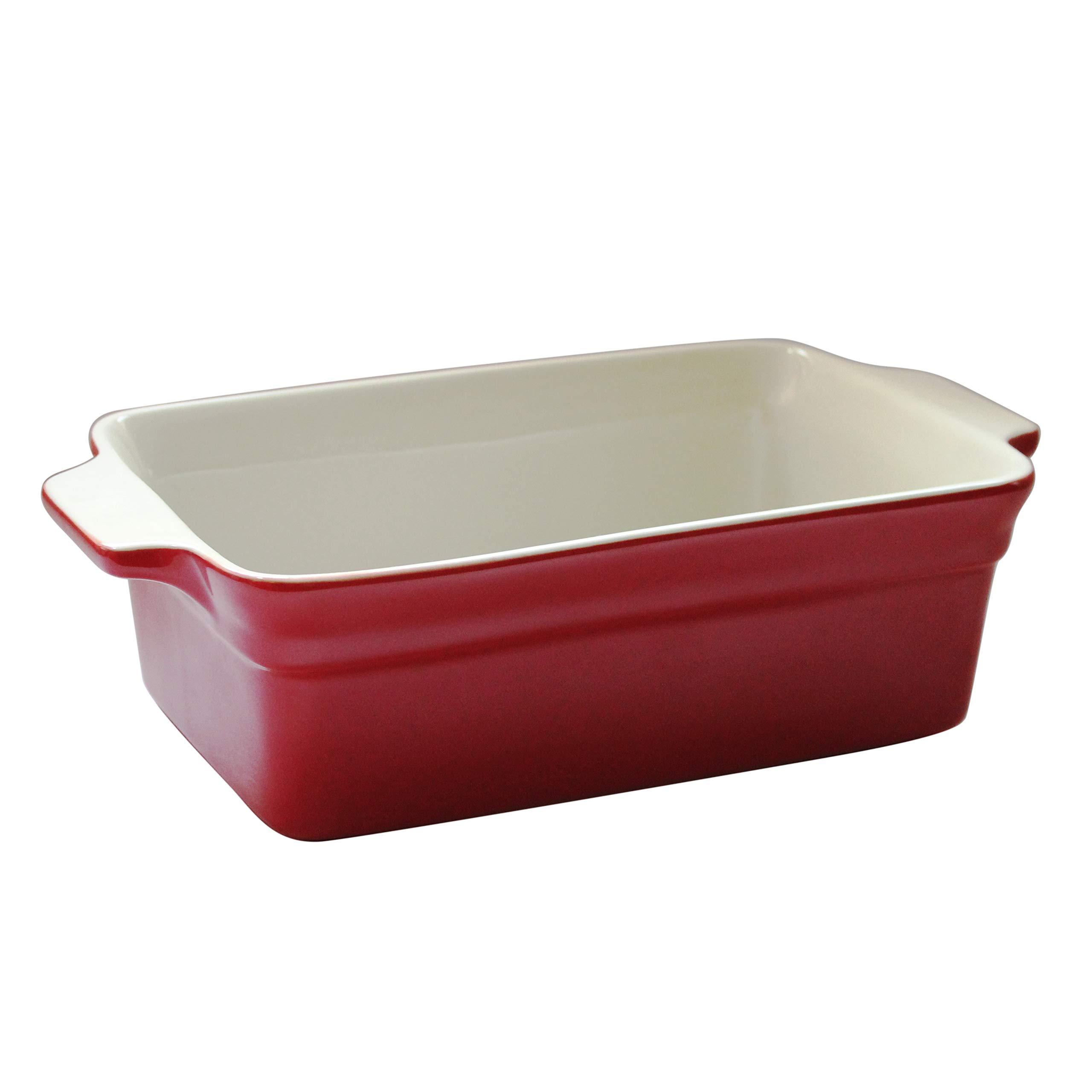 Lonovel Rectangular Baking Dish Roasting Lasagna Pan,11.5-Inch Classic Stoneware Ceramic Large Rectangular Bakers,Red