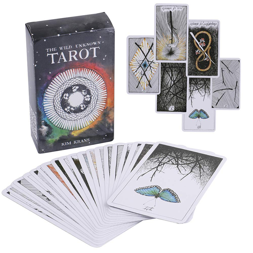 MonLiya 78Pcs/Set- Wild Unknown Tarot Deck Universal Mysterious Future Telling Game Card Set with Colorful Box Guessing Board Game Gift Poker Desk Toys