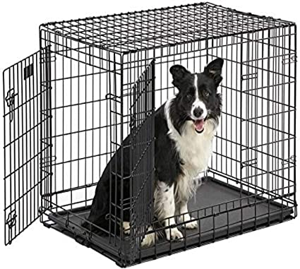 Floor Protecting Roller Feet /& Leak-Proof Plastic Pan Professional Series /& Most Durable MidWest Dog Crate Ultima Pro Extra-Strong Double Door Folding Metal Dog Crate w// Divider Panel