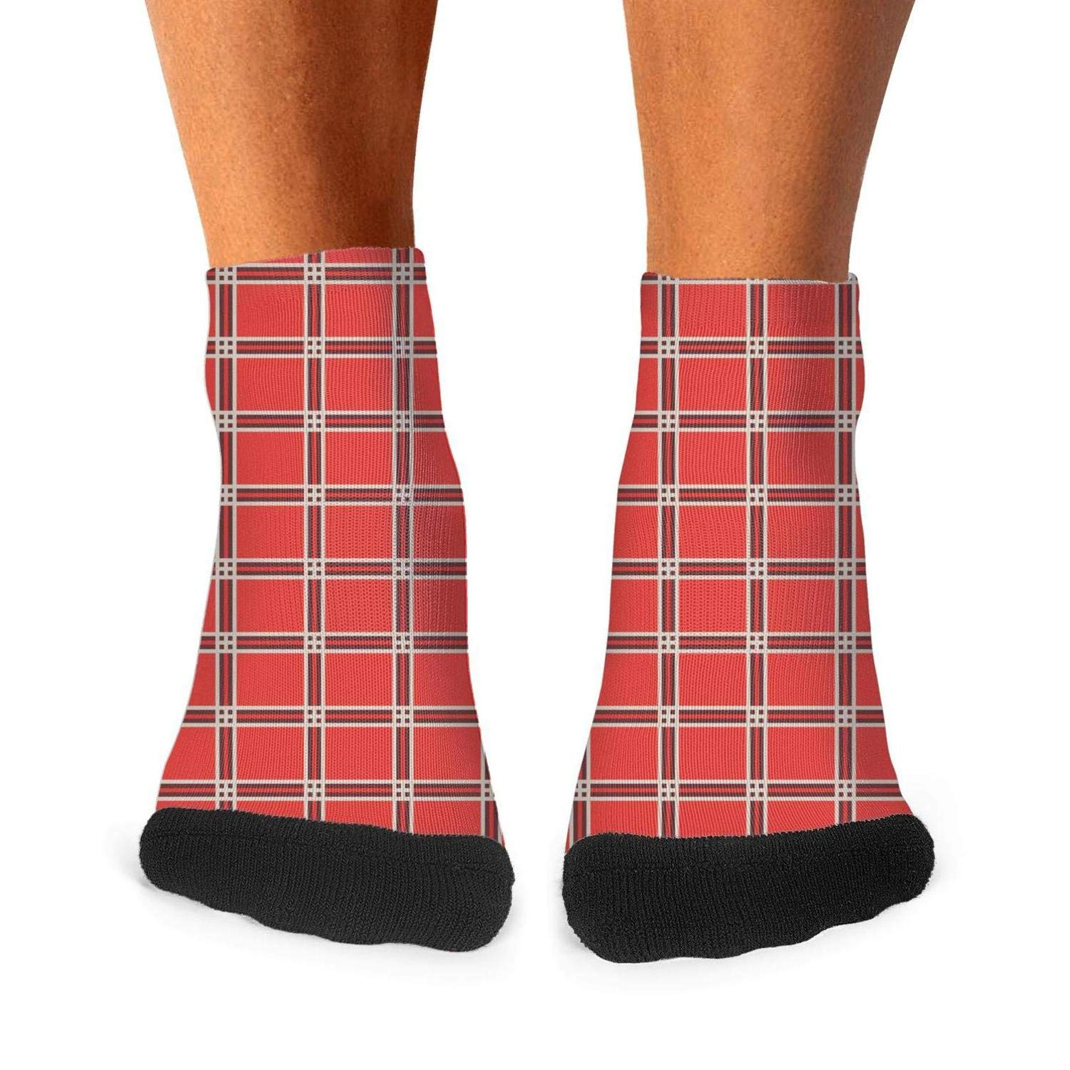 Mens athletic low cut Ankle sock Plaid printing red yellow Short Fit Sock