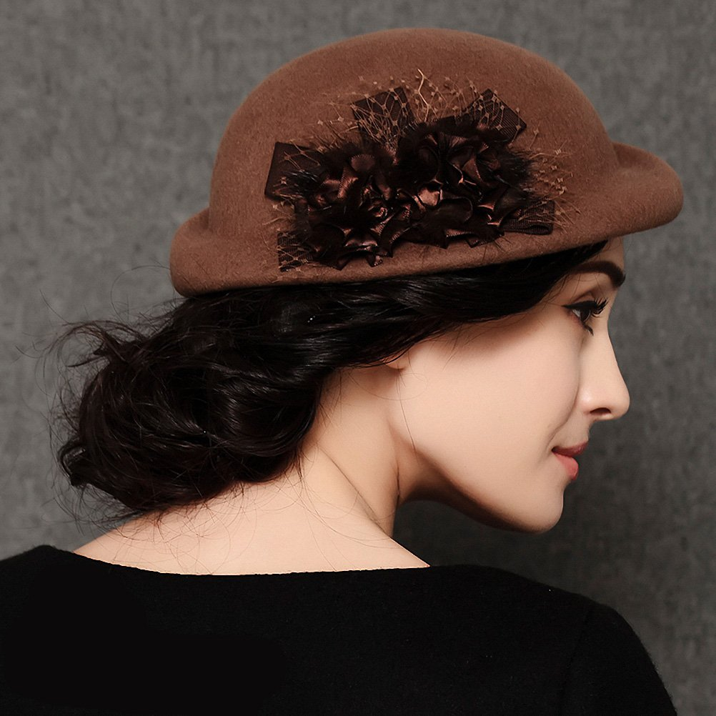 Maitose&Trade; Women's Lace Flower Wool Beret Cap Camel by Maitose (Image #3)
