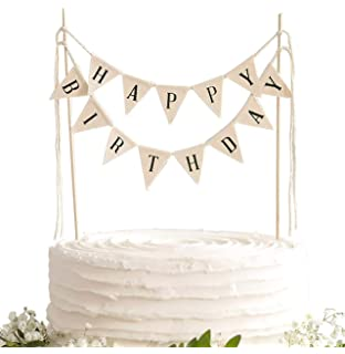Pre-Strung No Assembly Required Colorful Happy Birthday Banners for Birthday Party Decorations Rustic Burlap Happy Birthday Banner 6 colorful Paper Fans Meant2ToBe