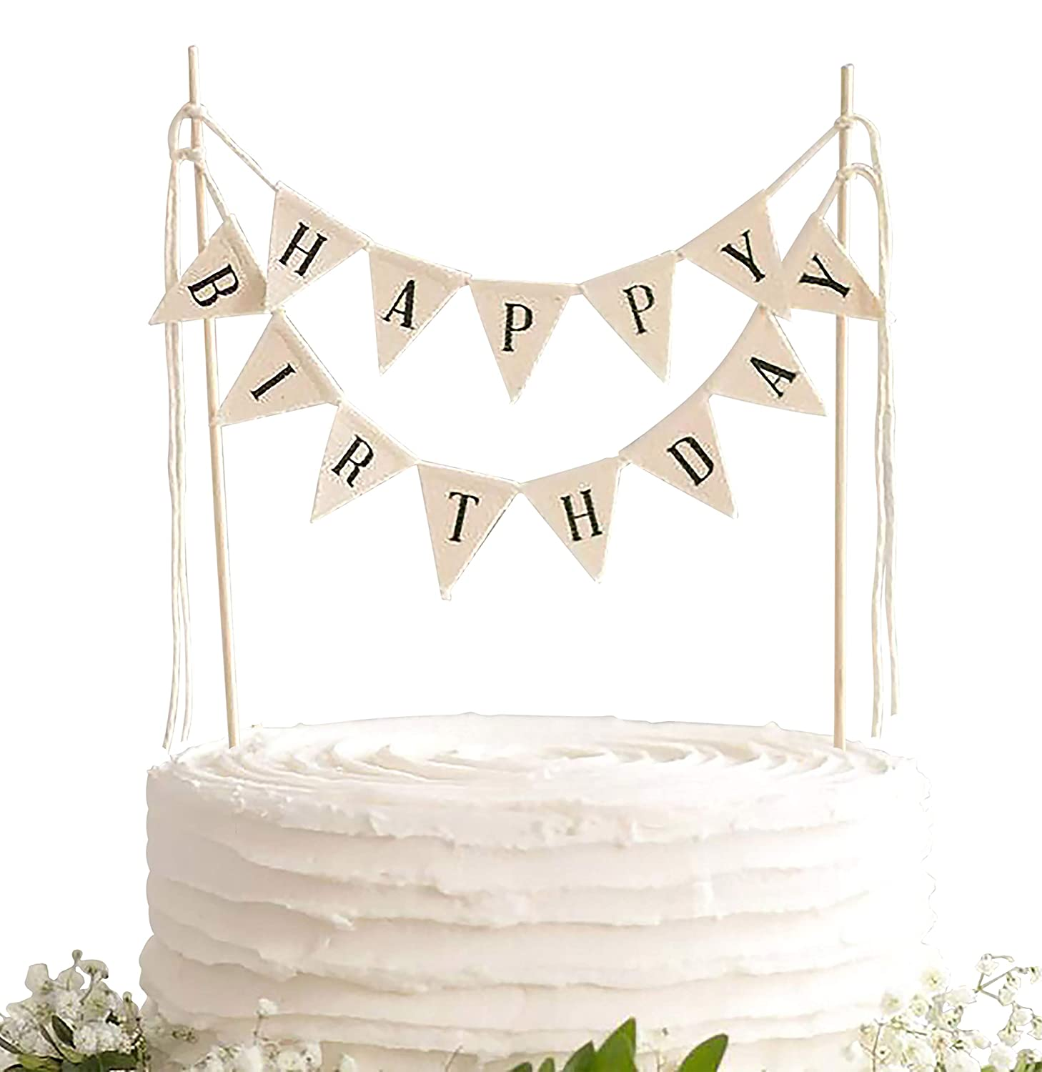 TECCA Happy Birthday Cake Topper Banner with White Burlap Bunting Flags. Handmade Food-Grade Safe Gender Neutral Party Decorations. Pre-assembled and Reusable for any Age or Themed Party.