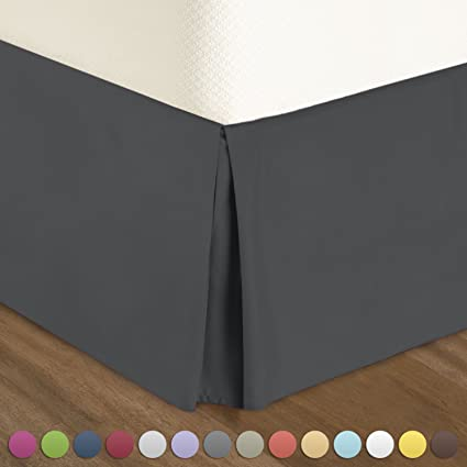 Amazon Com Pleated Bed Skirt King Size Solid Dark Gray Luxury