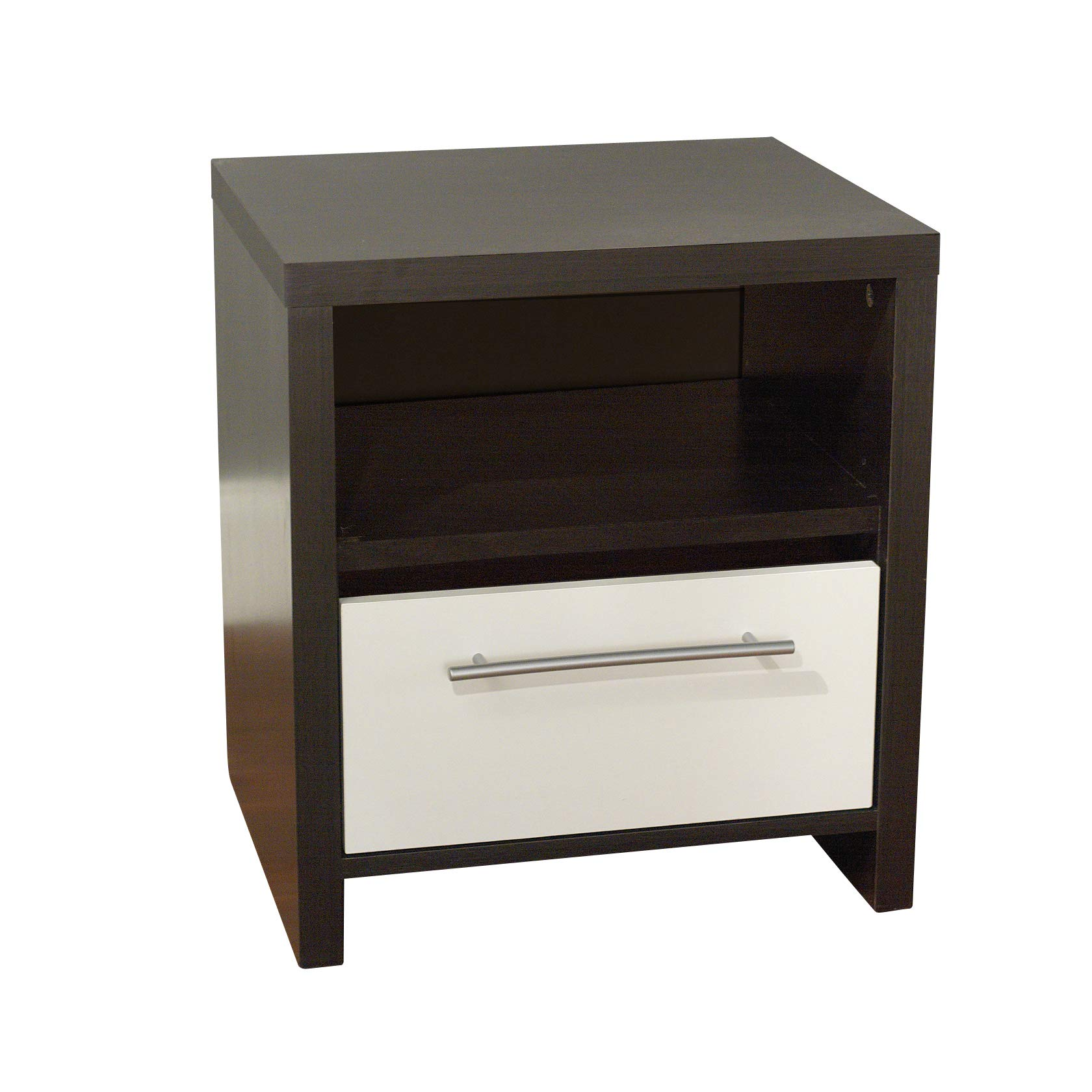 Target Marketing Systems Two-Toned Contemporary Nightstand with 1 Open Shelf and 1 Drawer, Espresso/White by Target Marketing Systems