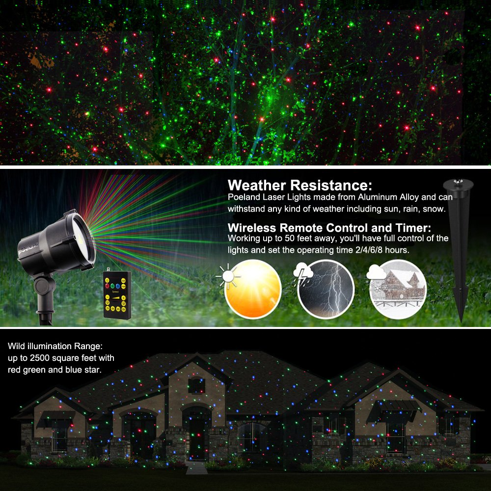 This controller lets you control 4 different branches of lights - Amazon Com Poeland Garden Laser Lights Firefly Holiday Lights 3 Color Blue Green Red Patio Lawn Garden