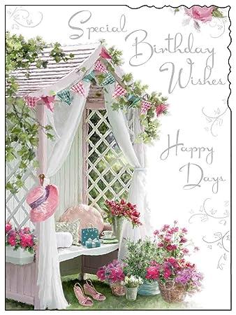 Birthday greetings female card velvet garden bench amazon birthday greetings female card jj8849 velvet garden bench silver embossed m4hsunfo