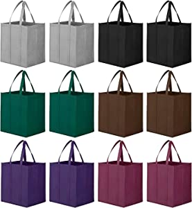 WiseLife Reusable Grocery Bags [Set of 12],Large Foldable Shopping Bags Tote Bags,Eco-Friendly Produce Bags with Long Handle for Shopping Groceries Clothes Vegetables Fruits(6 Colors Assorted)