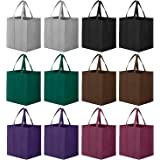 WiseLife Reusable Grocery Bags 12 Pack, Large Foldable Shopping Bags Tote Bags,Eco-Friendly Produce Bags with Long Handle for