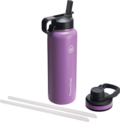 Thermoflask Double Stainless Steel Insulated Water Bottle, 40 oz, Plum